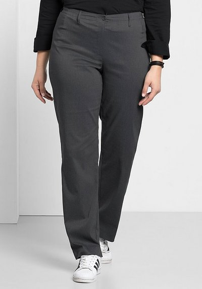 BASIC Gerade Bengalin-Stretch-Hose - grau meliert - 40