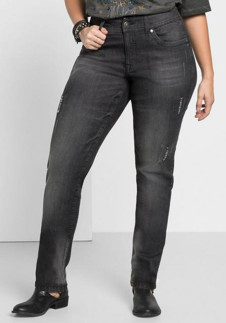 Schmale Stretch-Jeans KIRA - black Denim - 40