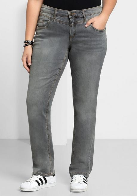 Gerade Stretch-Jeans LANA mit Used-Effekten - grey Denim - 40