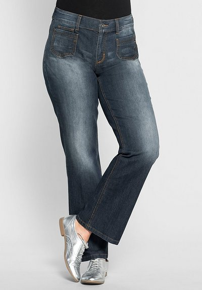 Weite Stretch-Jeans in Used-Optik - dark blue Denim - 40