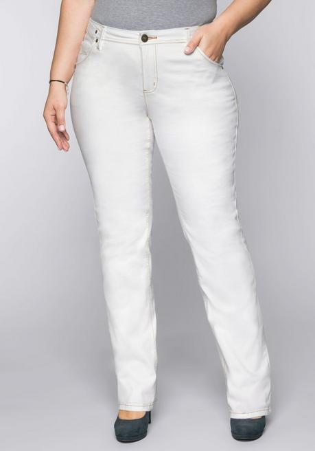 Gerade Stretch-Jeans LANA mit Used-Effekten - white Denim - 44