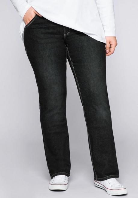 Gerade Stretch-Jeans LANA mit Used-Effekten - black Denim - 44