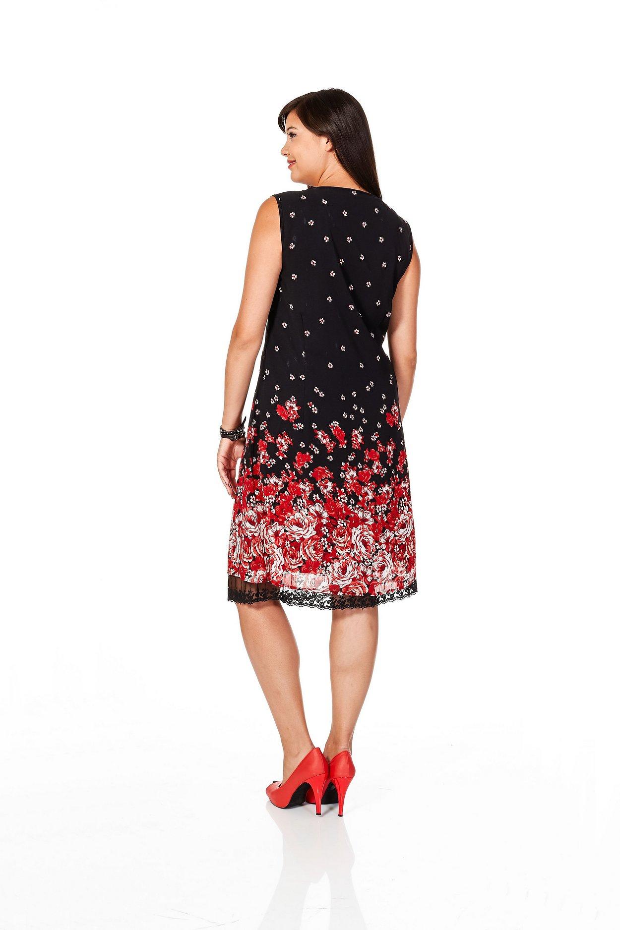 Blütendruck Rot Kleid Schwarz Sheego Style Mit Pw8kn0OX