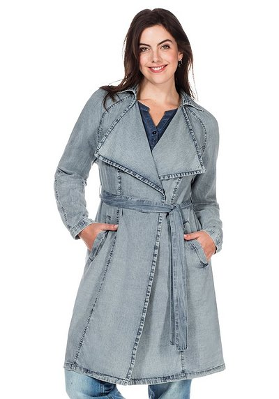 Jeans-Trench mit Bindeband - light blue Denim - 40