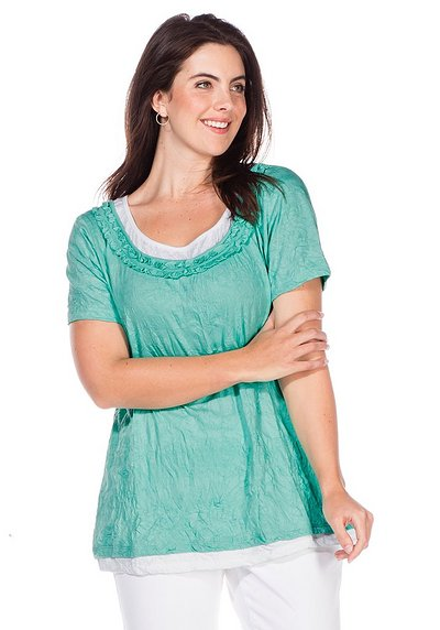 T-Shirt in Crinkle-Optik - mint - 40/42