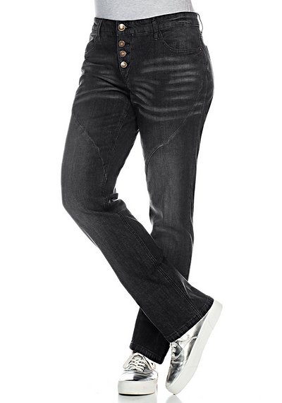 Gerade Stretch-Jeans LANA - black Denim - 40