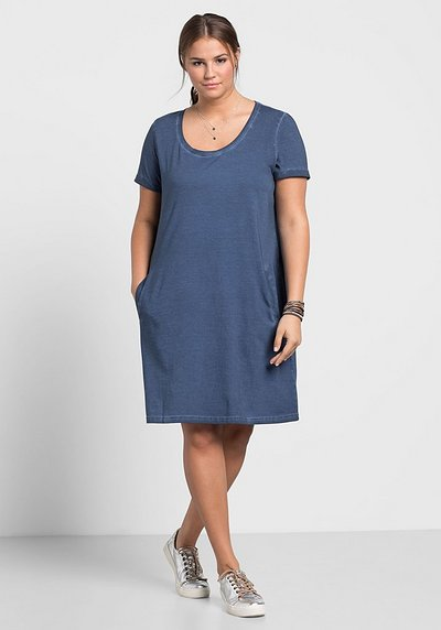 Jerseykleid in Oil-washed-Optik - rauchblau - 40/42