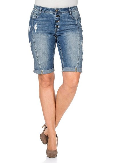 Bermuda Stretch-Jeans - light blue Denim - 40
