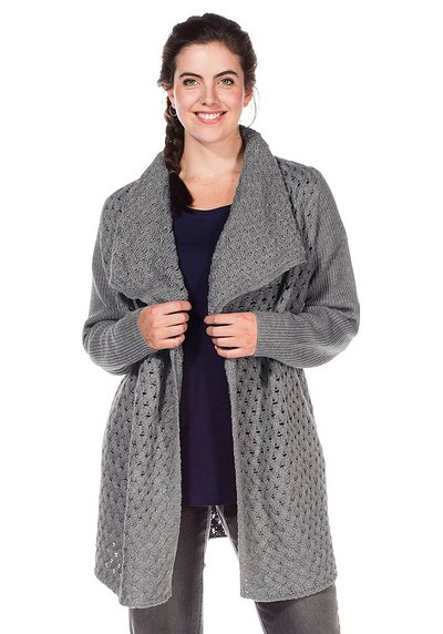 Modische Strickjacke - steingrau - 40/42