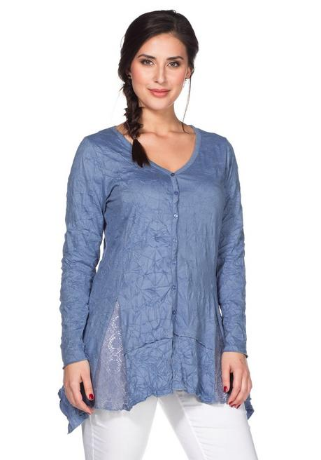 Longshirt in Crinkle-Optik - jeansblau - 40/42