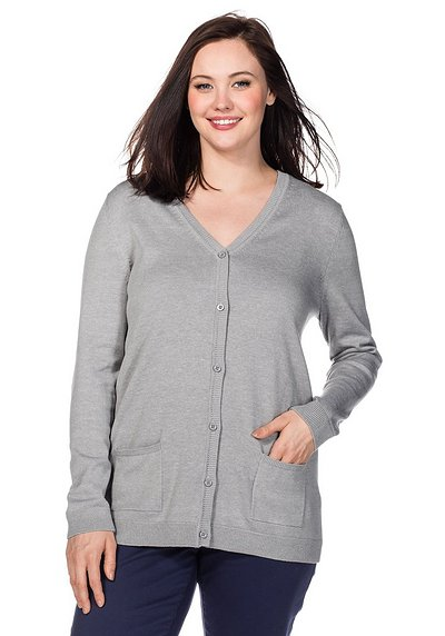 BASIC Strickjacke - grau meliert - 40/42