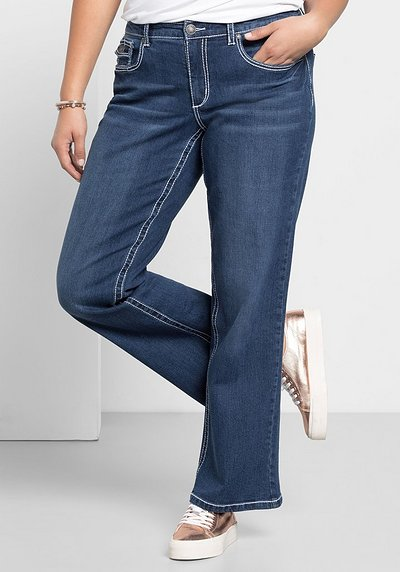 Weite Stretch-Jeans mit Kontrastnähten - dark blue Denim - 40