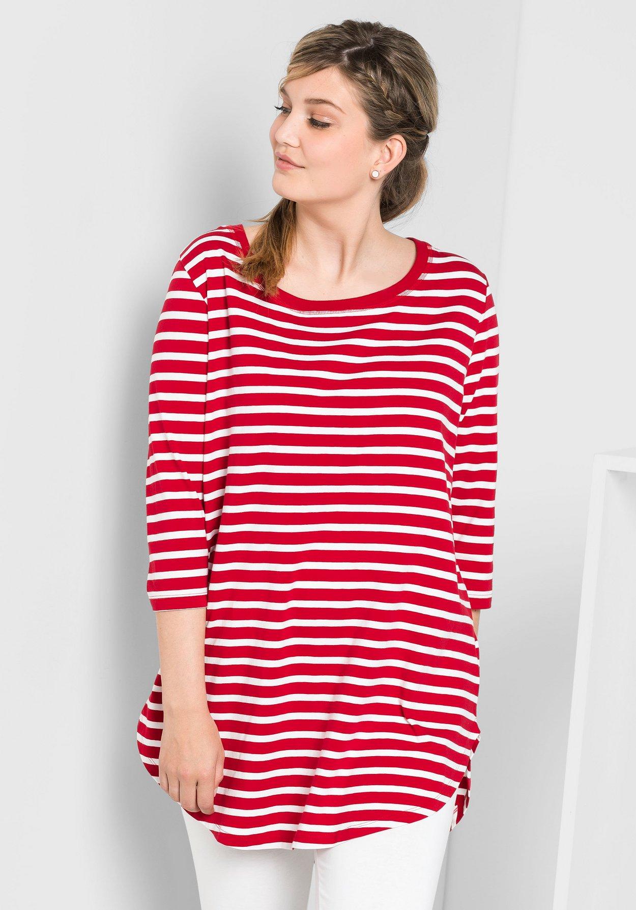 feine handwerkskunst klassische Stile neue auswahl Longshirt in Oversize-Form mit Streifen - rot-weiß | sheego