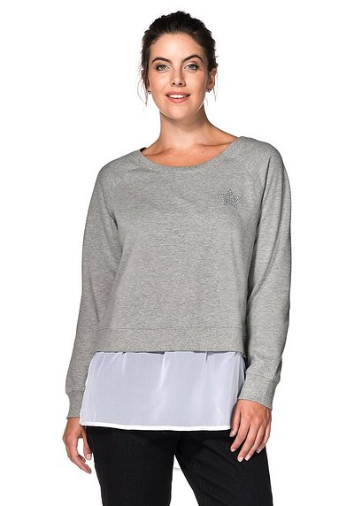Sweatshirt in 2-in-1-Optik - grau meliert - 40/42