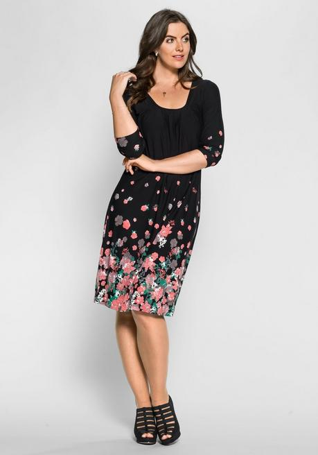 73d2569b168d8f Jerseykleid mit Bordürendruck - schwarz-rosé | sheego