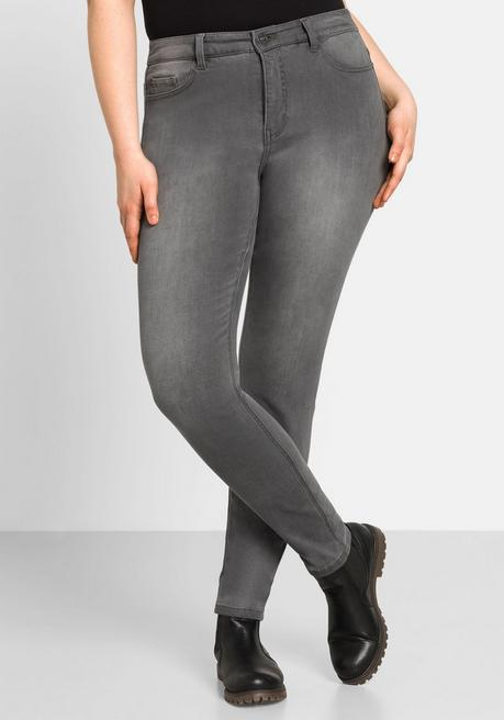 Skinny Power-Stretch-Jeans in 5-Pocket-Form - grey Denim - 44