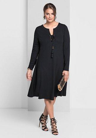 Jerseykleid mit langem Arm - schwarz