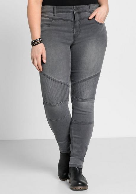 Skinny Power-Stretch-Jeans im Biker-Look - grey Denim - 44