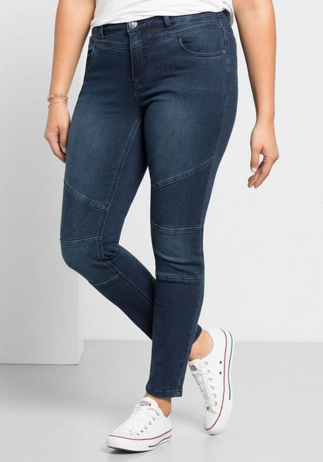 Skinny Power-Stretch-Jeans im Biker-Look - dark blue Denim - 40