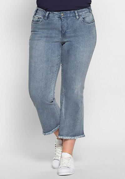 Bootcut-Stretch-Jeans mit Fransen - light blue Denim - 40