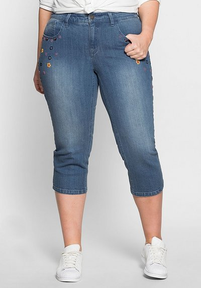 3/4-Stretch-Jeans mit Stickerei - blue Denim - 40