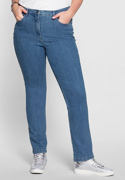 Schmale Stretch-Jeans - blue bleached Denim - 40