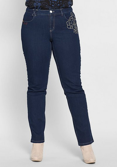 Gerade Stretch-Jeans mit Stickereien - dark blue Denim - 40