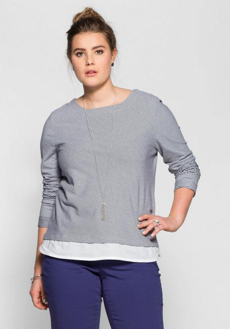 Sweatshirt in 2-in-1-Optik - marine-weiß - 56/58