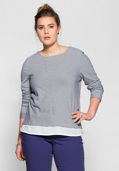 Sweatshirt in 2-in-1-Optik - marine-weiß - 40/42