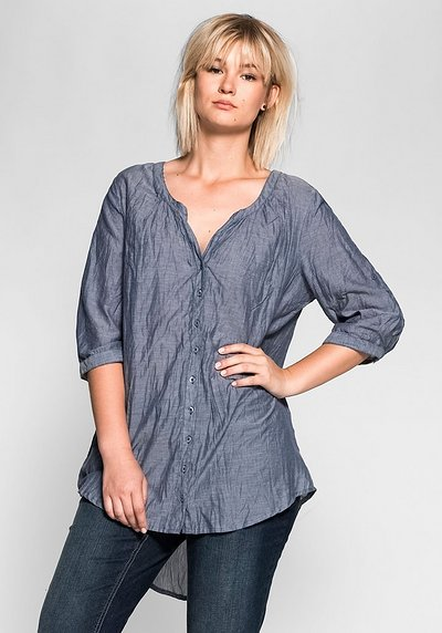 Longbluse in Crinkle-Optik - blue Denim - 40