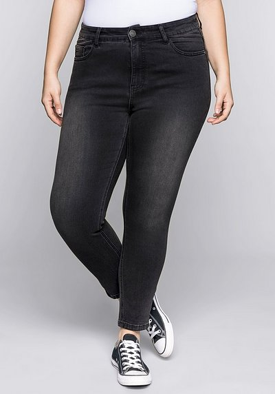 Skinny Power-Stretch-Jeans mit Zipper - black Denim - 44
