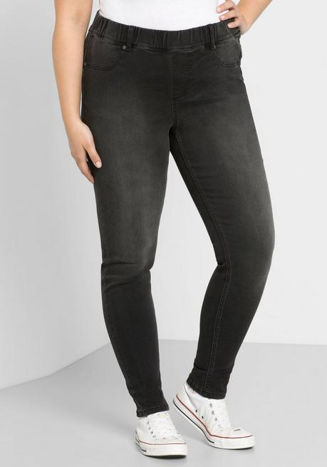 Skinny Power-Stretch-Jeggings mit Stretchbund - black Denim - 44