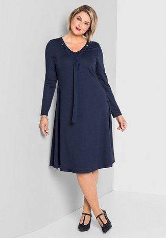 Jerseykleid mit weit schwingendem Rockteil - marine