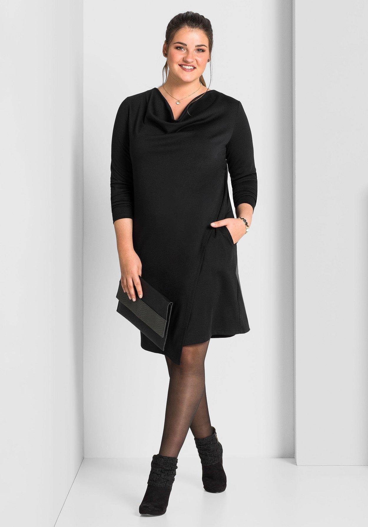 schwarzsheego Wasserfallkragen Wasserfallkragen schwarzsheego Kleid Kleid mit Kleid mit schwarzsheego mit Wasserfallkragen dxeCoB