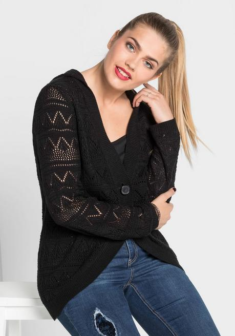 Strickjacke in Häkel-Optik - schwarz - 40/42