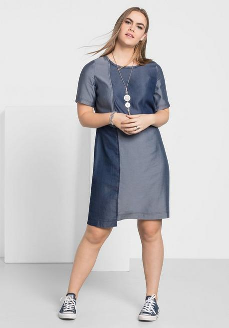 Kleid in Jeansoptik mit Rundhalsausschnitt - dark blue used Denim - 40