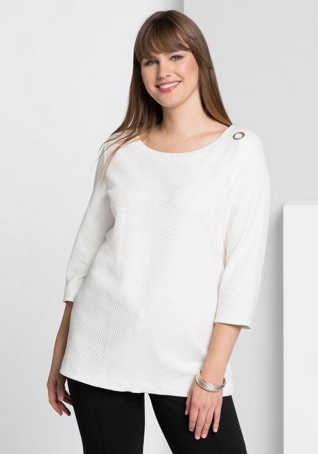 Shirt in Waffelpiqué-Optik - offwhite - 40/42