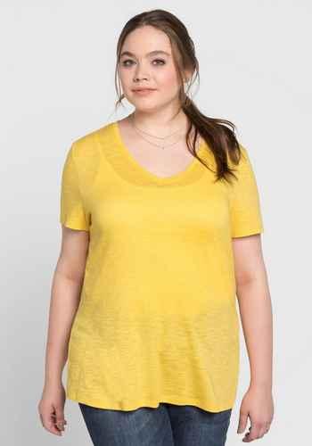 736314f467de64 Shirts und Tops Kurzarm in großen Größen in gelb online kaufen