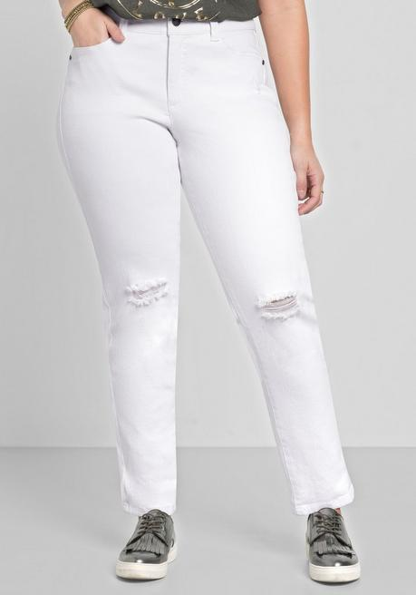 Schmale Stretch-Jeans mit Destroyed-Effekten - white Denim - 40