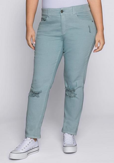 Schmale Stretch-Jeans mit Destroyed-Effekten - eistürkis - 44