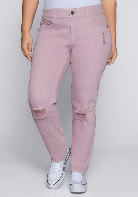 Schmale Stretch-Jeans mit Destroyed-Effekten - hellmauve - 44