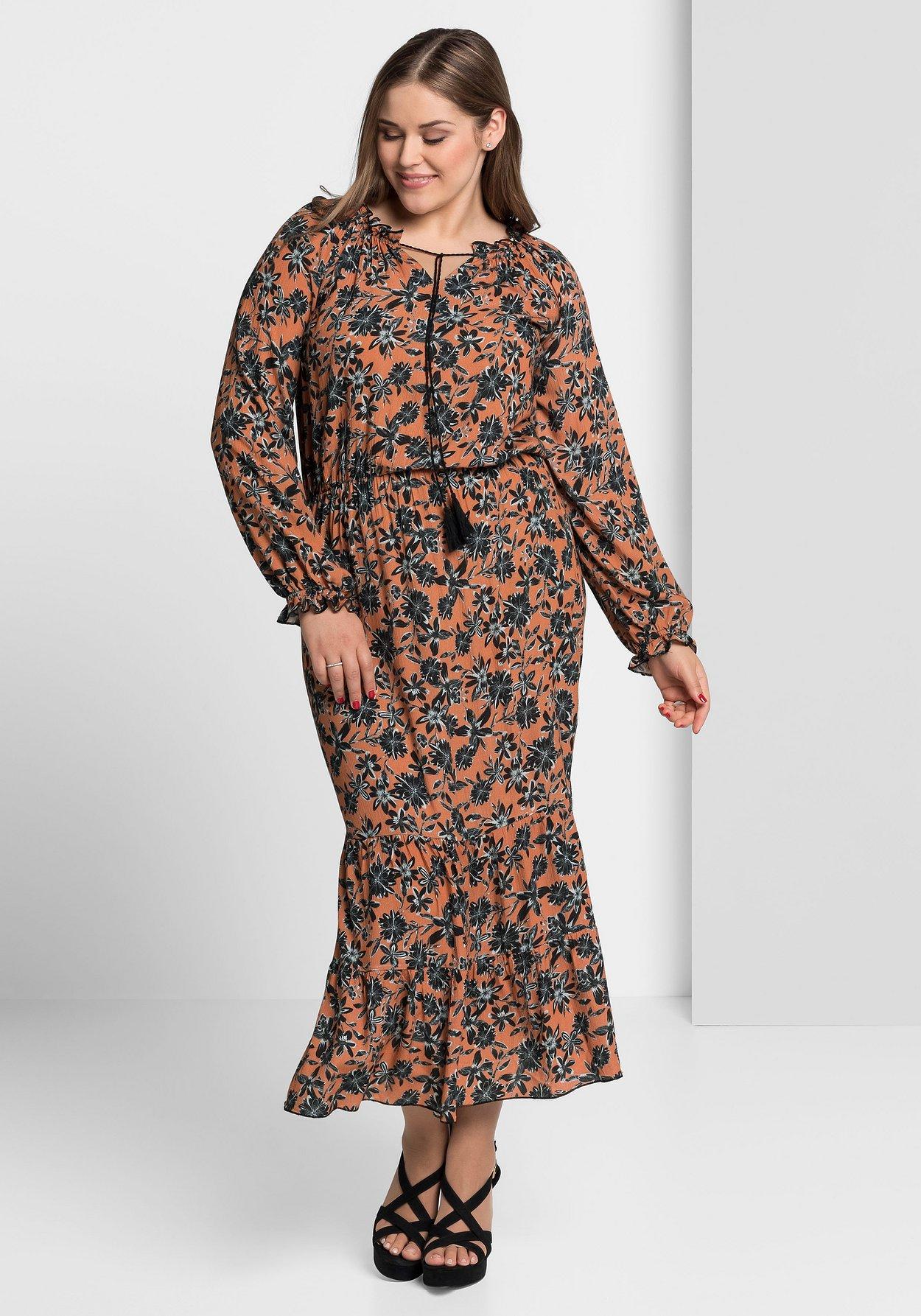 Kleid Im Boho Stil Pfirsichrose Bedruckt Sheego