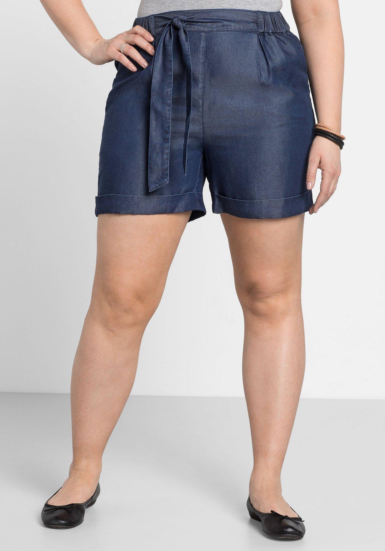 Turnschuhe für billige bieten eine große Auswahl an erstaunlicher Preis Shorts mit Bindegürtel - dark blue used Denim | sheego