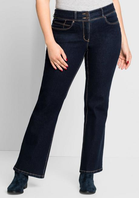 Bootcut-Jeans mit Push-Effekt - dark blue Denim - 44