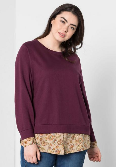 Sweatshirt in 2-in-1-Optik - aubergine - 44/46