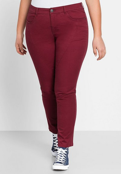 BASIC Schmale Stretch-Hose - bordeaux - 44