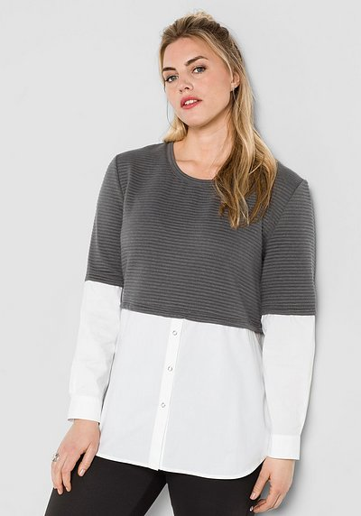 Sweatshirt in 2-in-1-Optik - rauchgrau - 44/46