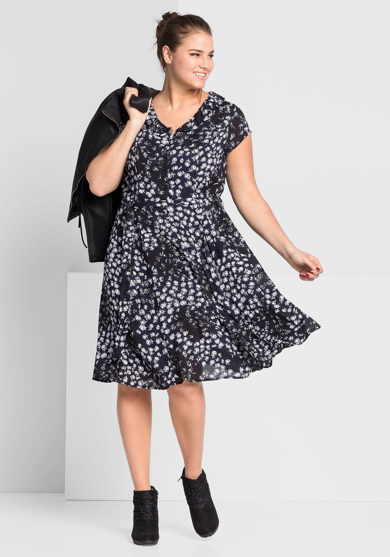 Kleid Kleid Kleid Mit BedrucktSheego Bubikragen Blau Bubikragen Mit BedrucktSheego Blau 0wPX8Onk