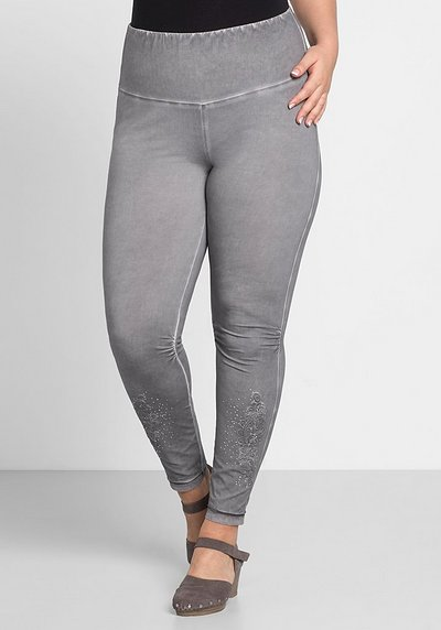 Leggings mit Stickerei - steingrau - 44