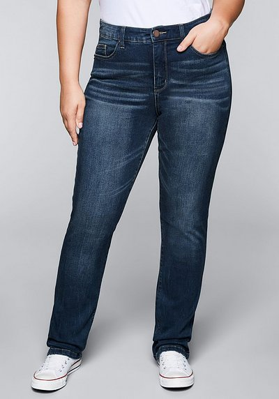 Gerade Stretch-Jeans mit Bodyforming-Effekt - dark blue Denim - 44